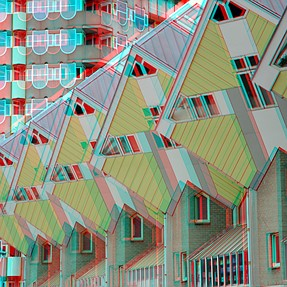 Cubic-houses Rotterdam in anaglyph