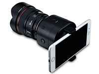 The Yongnuo YN43 is a Four Thirds smartphone clip-on camera with Canon lens mount