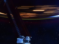 This photograph illustrates how quickly the International Space Station orbits Earth