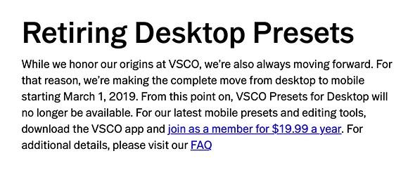 VSCO will retire desktop film emulation presets early next year