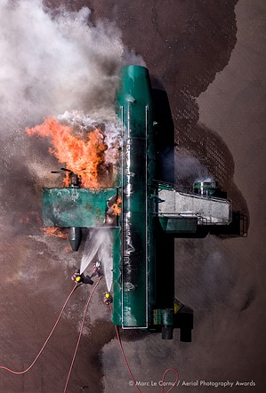 """Aerial Photographer of the Year 2020, 1st Place, Documentary: 'Fire Attack' by <a href=""""https://www.bamperspectives.com/"""" rel=""""noopener"""" target=""""_blank"""">Marc LeCornu</a> (Jersey)"""
