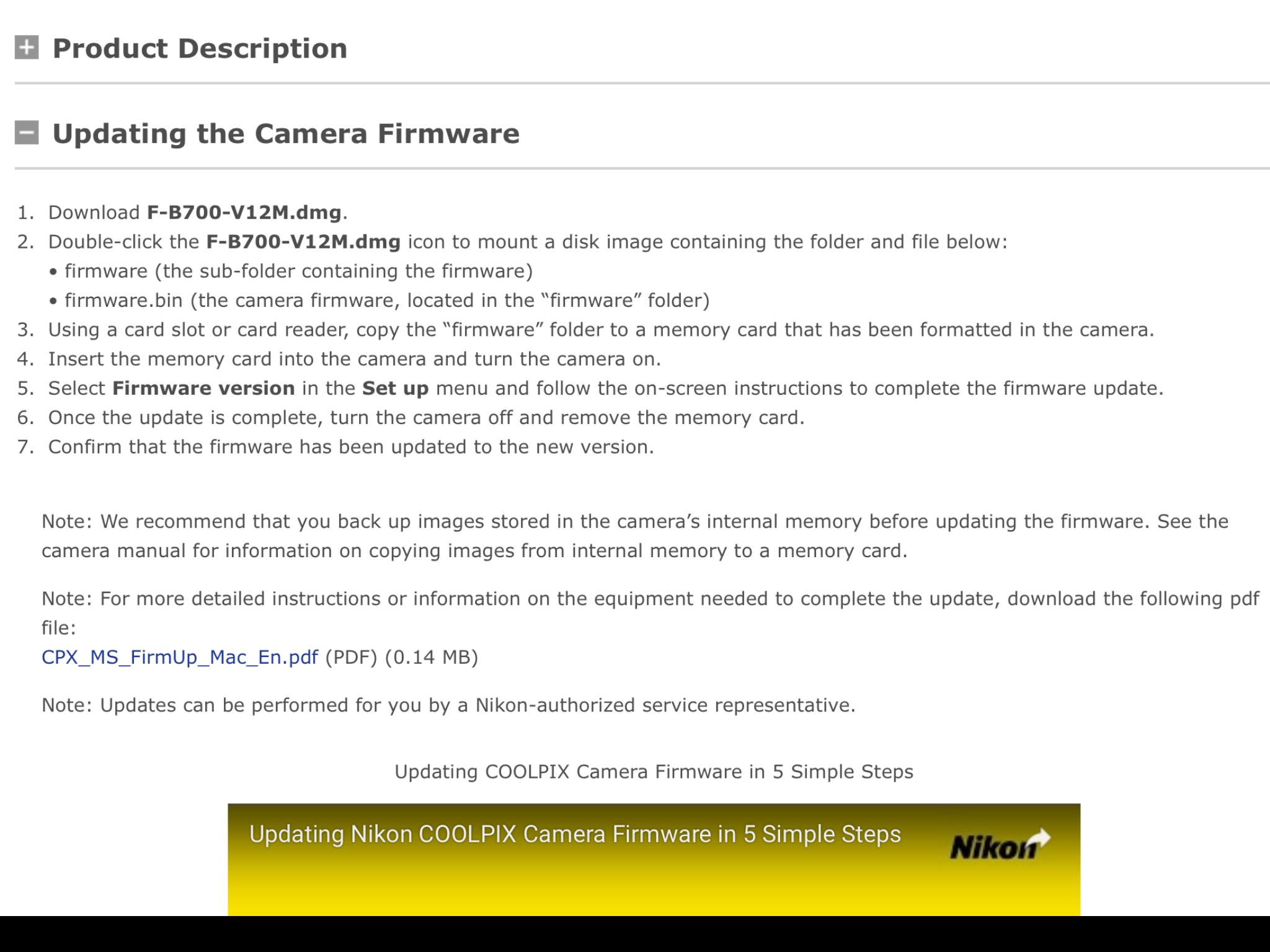 Coolpix B700 firmware update: Nikon Coolpix Talk Forum: Digital