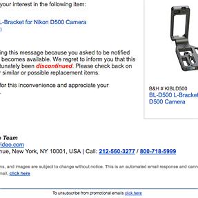 Kirk L bracket for D500 discontinued................