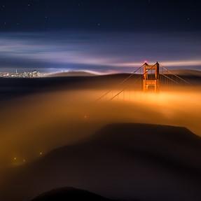 Golden Gate Bridge Midnight Fog from Slacker Hill