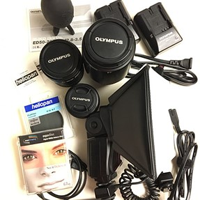 Selling 3 Zuiko lenses with filters, FL-50 Flash, other items