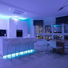 LED kitchen w/ flash painting (interior design)