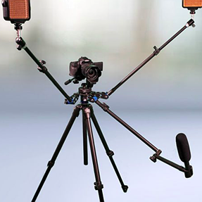 Lights on arms connected to camera/tripod?