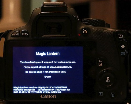 Magic Lantern is now available for SL1/100D : Canon Rebel