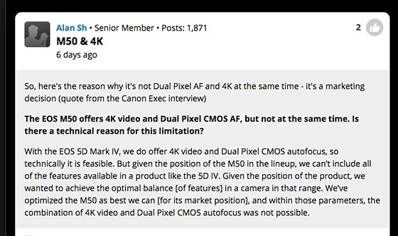 Did Canon clearly said it's because of the EOS M50's market