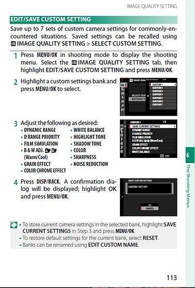 XT3 - Custom settings (1-7): Fujifilm X System / SLR Talk