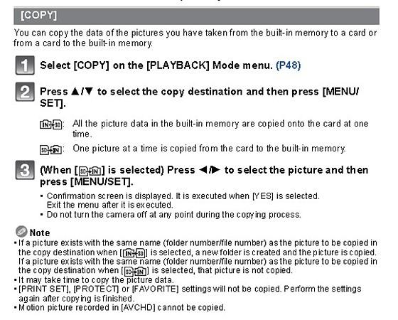 FZ150 internal memory transfer photos: Panasonic Compact