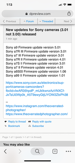 New firmware for A99ii is out: Sony Alpha SLR/SLT A-mount Talk Forum