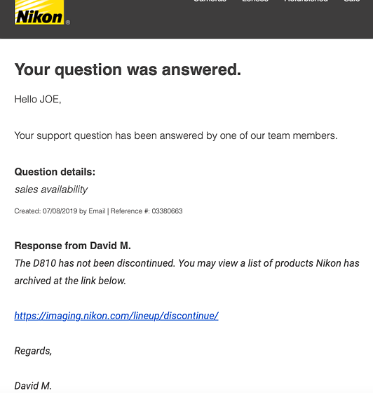 Is the Nikon D810 being Discontinued?: Open Talk Forum: Digital