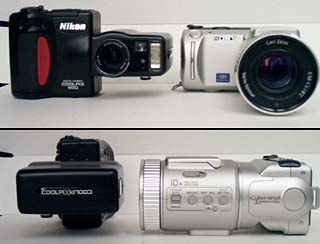 Nikon Coolpix 950 (left), Sony DSC-F505 (right)