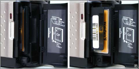 SmartMedia / CompactFlash compartment (click for larger image)
